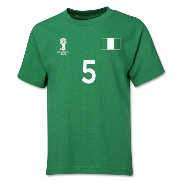 Nigeria 2014 FIFA World Cup Brazil(TM) Youth Number 5 T-Shirt (Green)