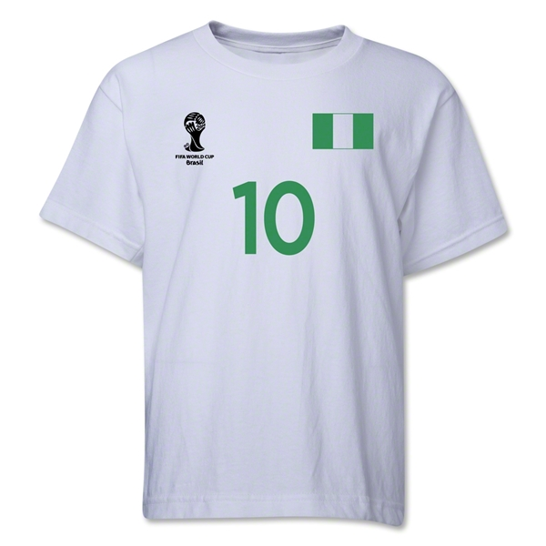 Nigeria 2014 FIFA World Cup Brazil(TM) Youth Number 10 T-Shirt (White)