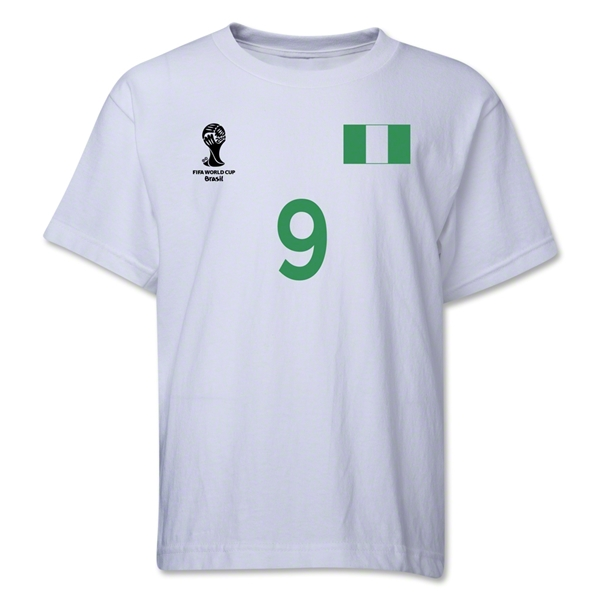 Nigeria 2014 FIFA World Cup Brazil(TM) Youth Number 9 T-Shirt (White)