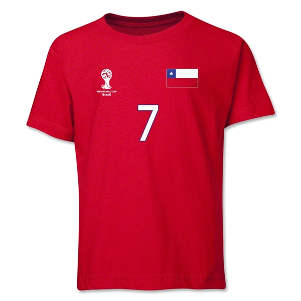 Chile 2014 FIFA World Cup Brazil(TM) Youth Number 7 T-Shirt (Red)