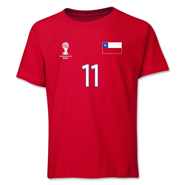 Chile 2014 FIFA World Cup Brazil(TM) Youth Number 11 T-Shirt (Red)
