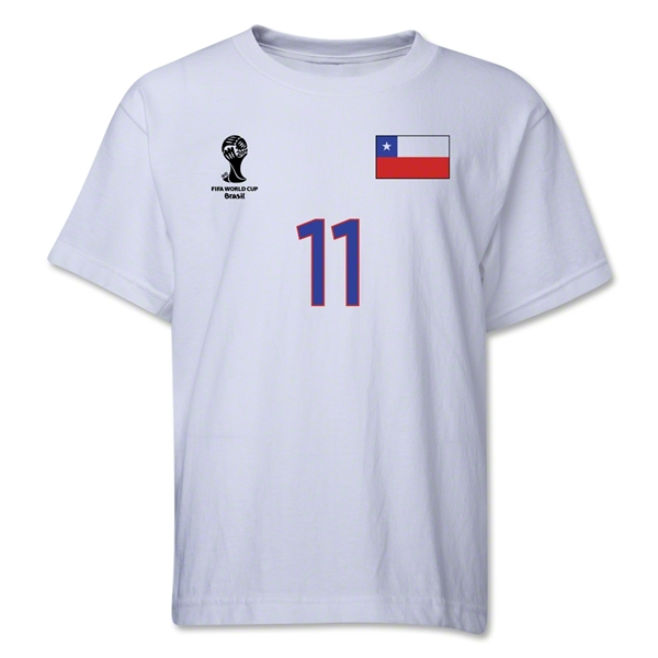 Chile 2014 FIFA World Cup Brazil(TM) Youth Number 11 T-Shirt (White)