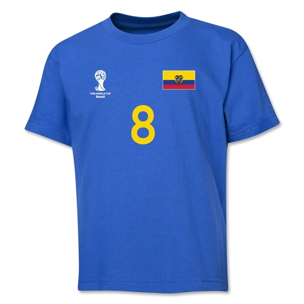 Ecuador 2014 FIFA World Cup Brazil(TM) Youth Number 8 T-Shirt (Royal)