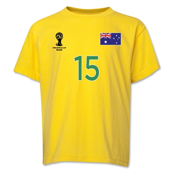 Australia 2014 FIFA World Cup Brazil(TM) Youth Number 15 T-Shirt (Yellow)