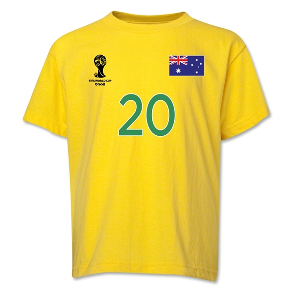 Australia 2014 FIFA World Cup Brazil(TM) Youth Number 20 T-Shirt (Yellow)