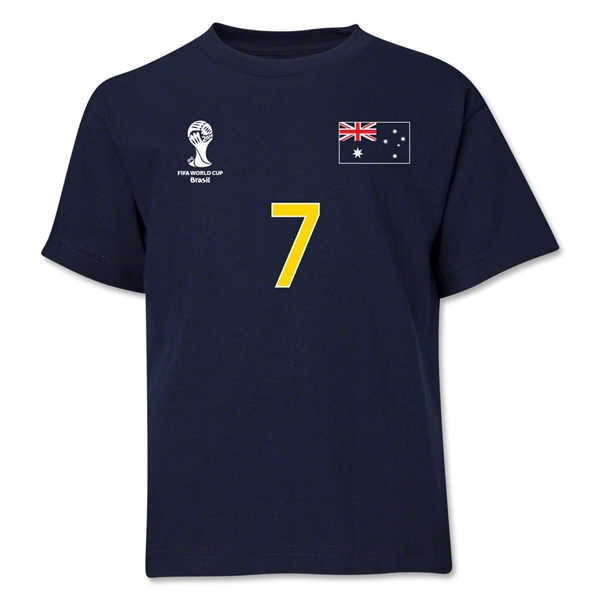 Australia 2014 FIFA World Cup Brazil(TM) Youth Number 7 T-Shirt (Navy)