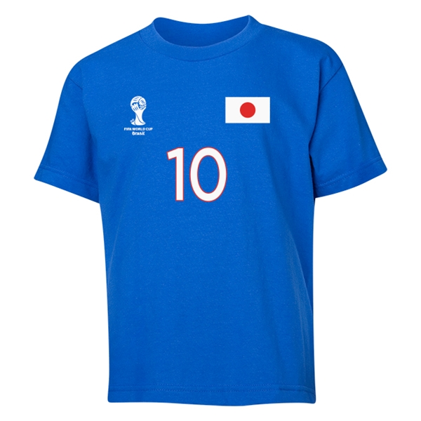 Japan 2014 FIFA World Cup Brazil(TM) Youth Number 10 T-Shirt (Royal)