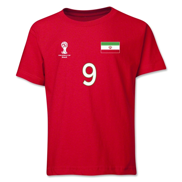 Iran 2014 FIFA World Cup Brazil(TM) Youth Number 9 T-Shirt (Red)