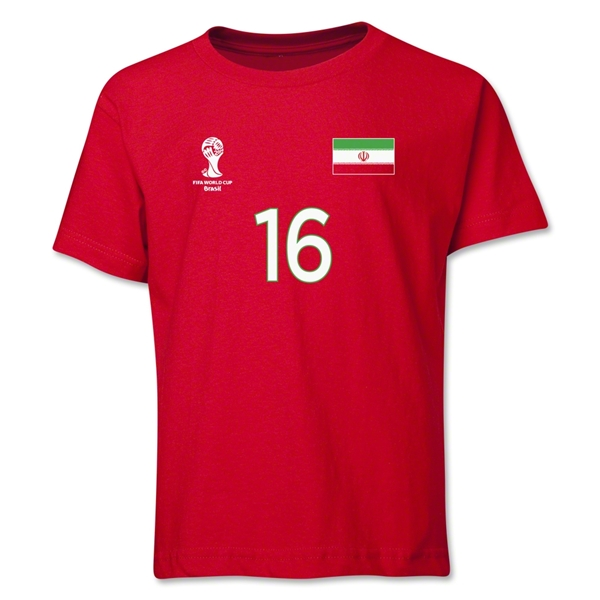 Iran 2014 FIFA World Cup Brazil(TM) Youth Number 16 T-Shirt (Red)