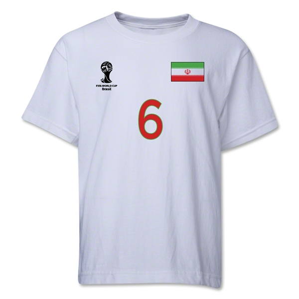 Iran 2014 FIFA World Cup Brazil(TM) Youth Number 6 T-Shirt (White)