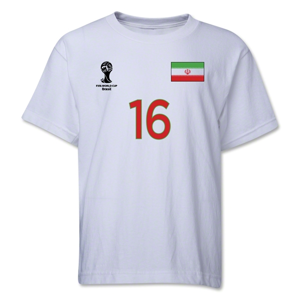 Iran 2014 FIFA World Cup Brazil(TM) Youth Number 16 T-Shirt (White)