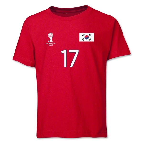 South Korea 2014 FIFA World Cup Brazil(TM) Youth Number 17 T-Shirt (Red)