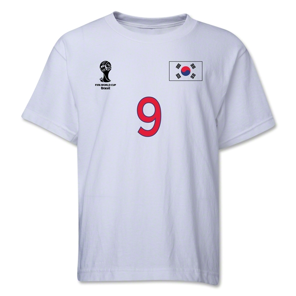 South Korea 2014 FIFA World Cup Brazil(TM) Youth Number 9 T-Shirt (White)