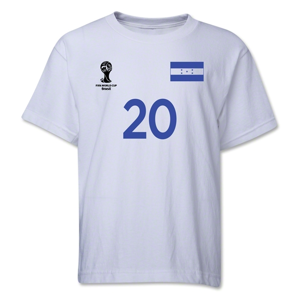 Honduras 2014 FIFA World Cup Brazil(TM) Youth Number 20 T-Shirt (White)