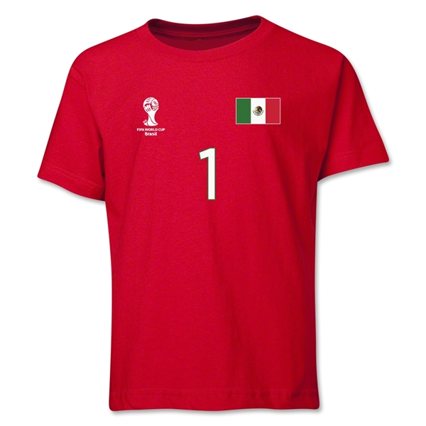 Mexico 2014 FIFA World Cup Brazil(TM) Youth Number 1 T-Shirt (Red)