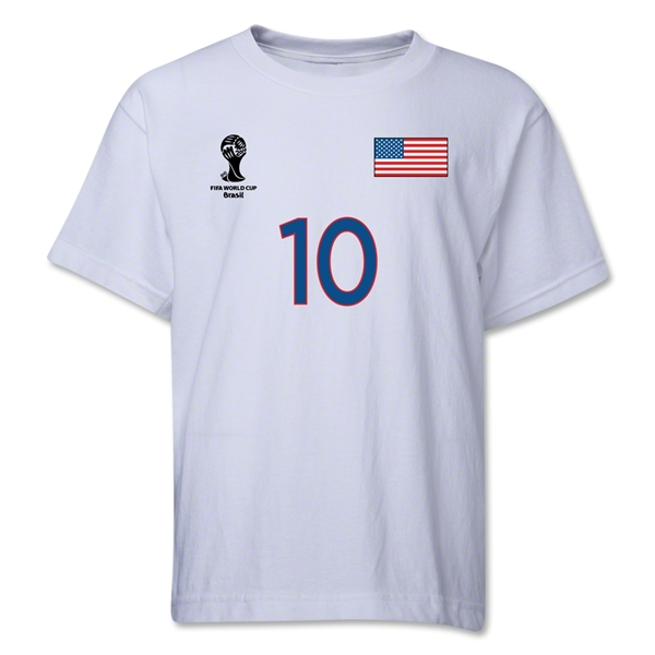 USA 2014 FIFA World Cup Brazil(TM) Youth Number 10 T-Shirt (White)