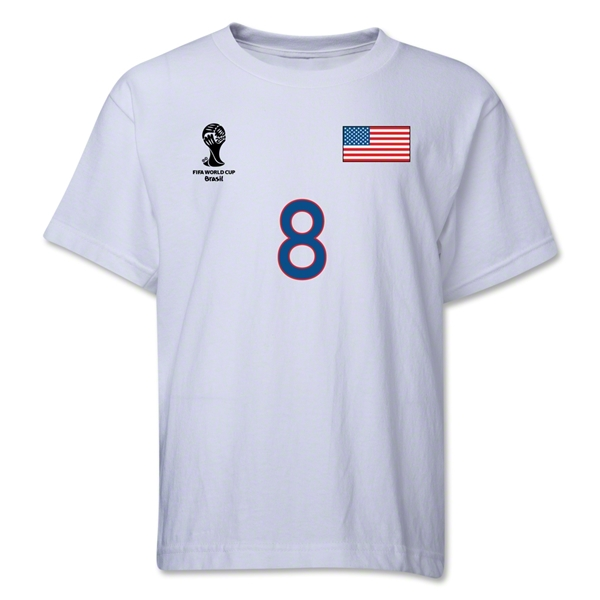 USA 2014 FIFA World Cup Brazil(TM) Youth Number 8 T-Shirt (White)
