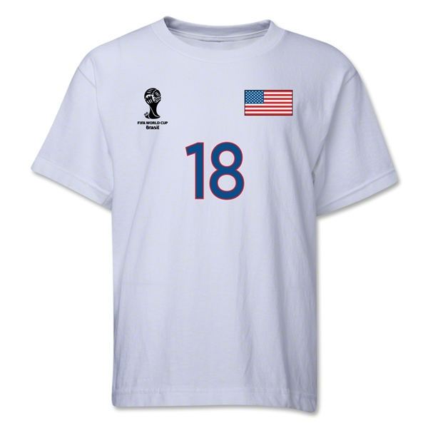 USA 2014 FIFA World Cup Brazil(TM) Youth Number 18 T-Shirt (White)