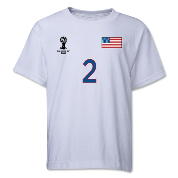 USA 2014 FIFA World Cup Brazil(TM) Youth Number 2 T-Shirt (White)