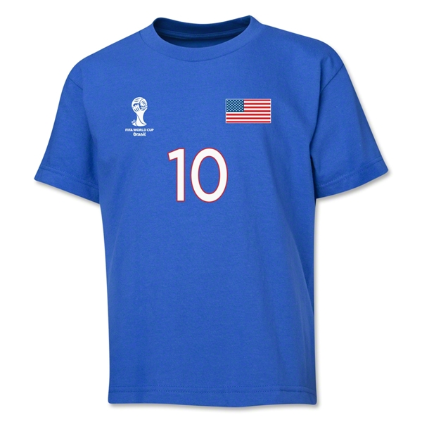 USA 2014 FIFA World Cup Brazil(TM) Youth Number 10 T-Shirt (Royal)