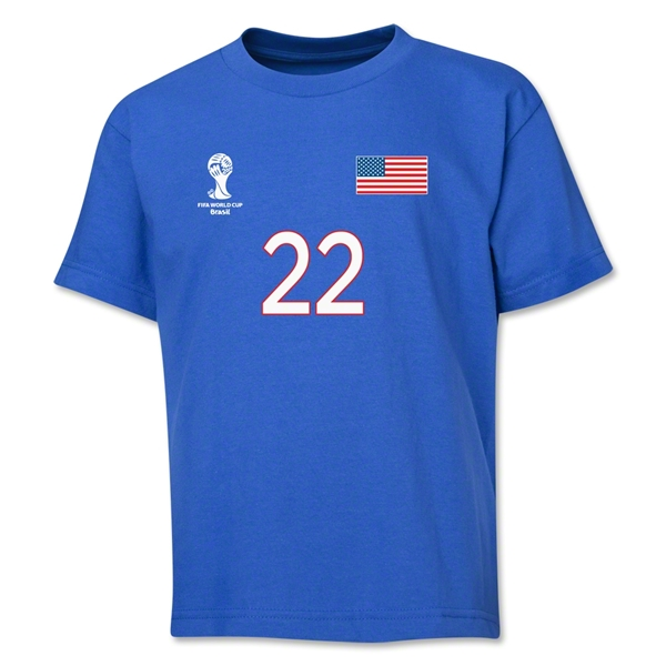 USA 2014 FIFA World Cup Brazil(TM) Youth Number 22 T-Shirt (Royal)