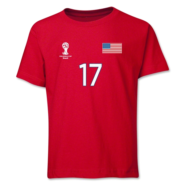 USA 2014 FIFA World Cup Brazil(TM) Youth Number 17 T-Shirt (Red)