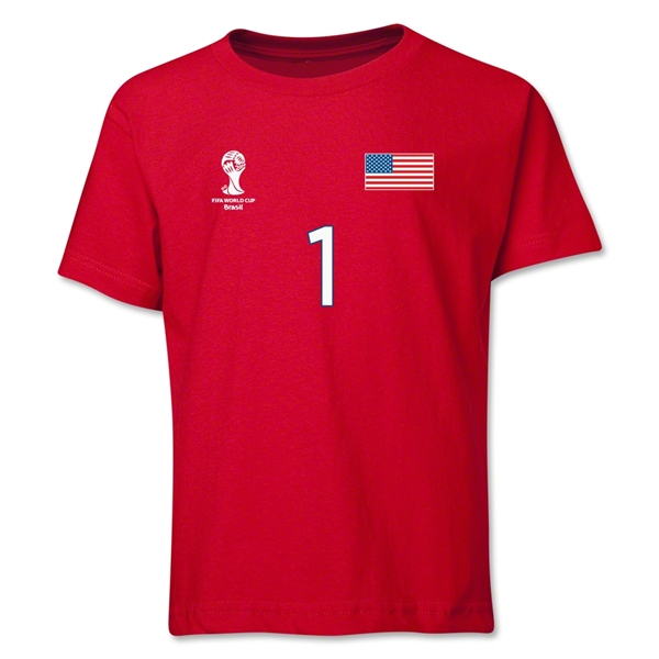 USA 2014 FIFA World Cup Brazil(TM) Youth Number 1 T-Shirt (Red)
