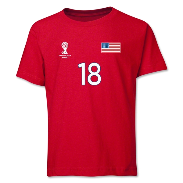 USA 2014 FIFA World Cup Brazil(TM) Youth Number 19 T-Shirt (Red)