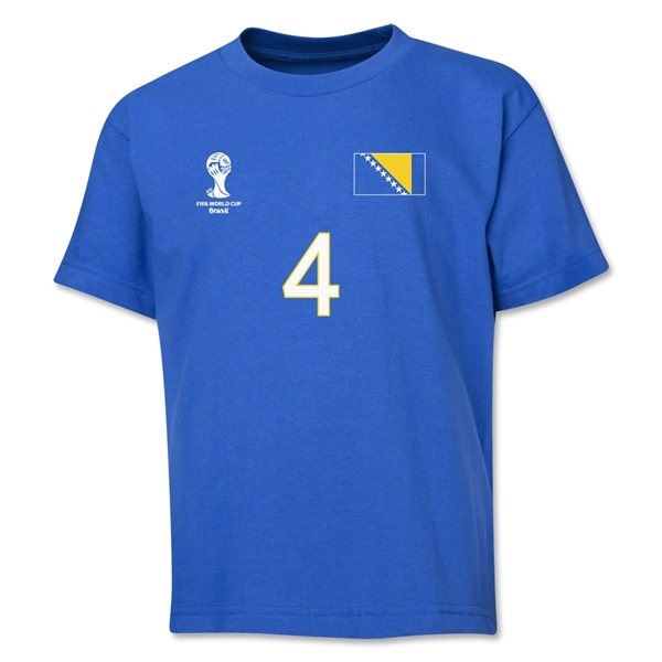 Bosnia-Herzegovina 2014 FIFA World Cup Brazil(TM) Youth Number 4 T-Shirt (Royal)