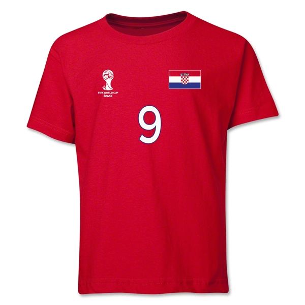 Croatia 2014 FIFA World Cup Brazil(TM) Youth Number 9 T-Shirt (Red)