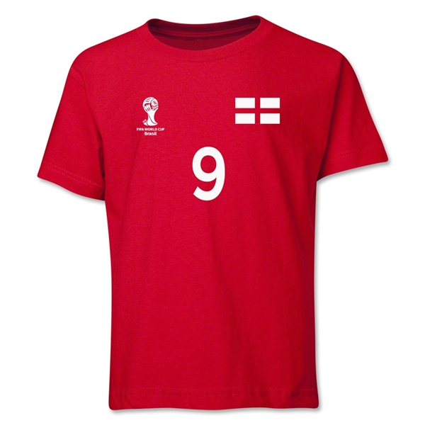 England 2014 FIFA World Cup Brazil(TM) Youth Number 9 T-Shirt (Red)