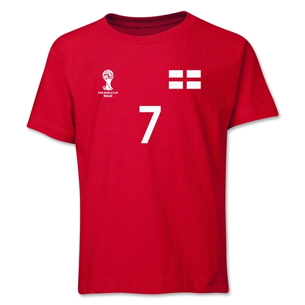 England 2014 FIFA World Cup Brazil(TM) Youth Number 7 T-Shirt (Red)
