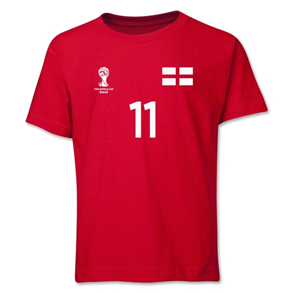 England 2014 FIFA World Cup Brazil(TM) Youth Number 11 T-Shirt (Red)