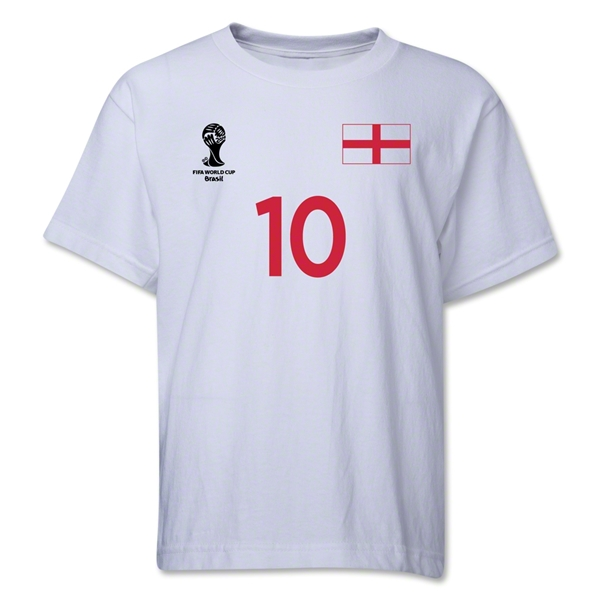 England 2014 FIFA World Cup Brazil(TM) Youth Number 10 T-Shirt (White)