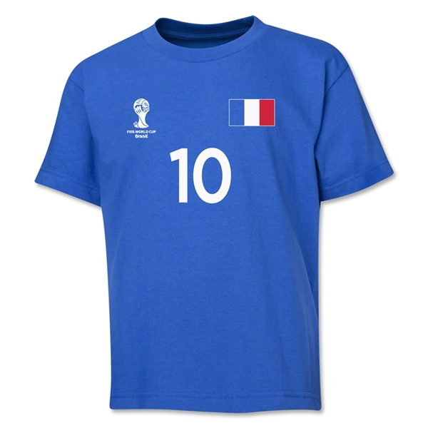 France 2014 FIFA World Cup Brazil(TM) Youth Number 10 T-Shirt (Royal)