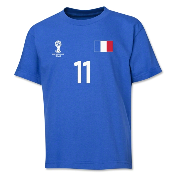 France 2014 FIFA World Cup Brazil(TM) Youth Number 11 T-Shirt (Royal)