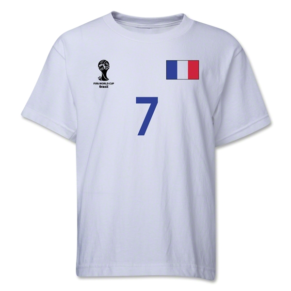 France 2014 FIFA World Cup Brazil(TM) Youth Number 7 T-Shirt (White)