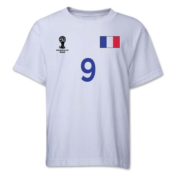 France 2014 FIFA World Cup Brazil(TM) Youth Number 9 T-Shirt (White)
