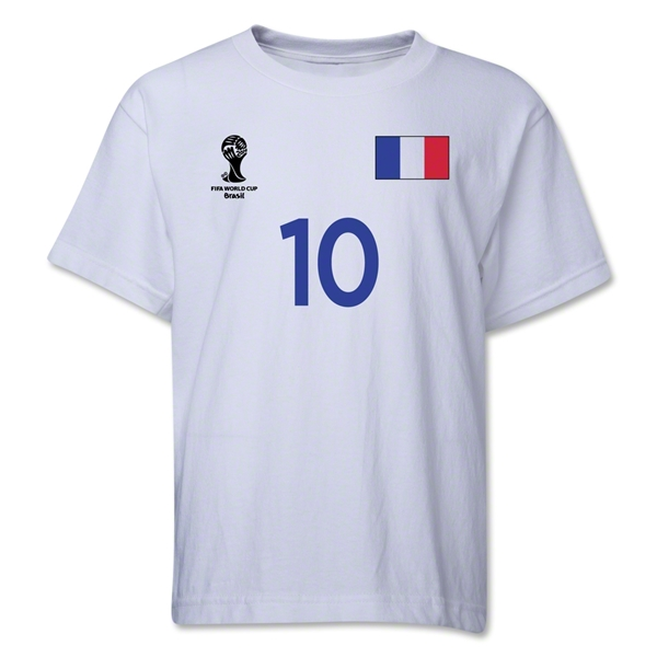 France 2014 FIFA World Cup Brazil(TM) Youth Number 10 T-Shirt (White)