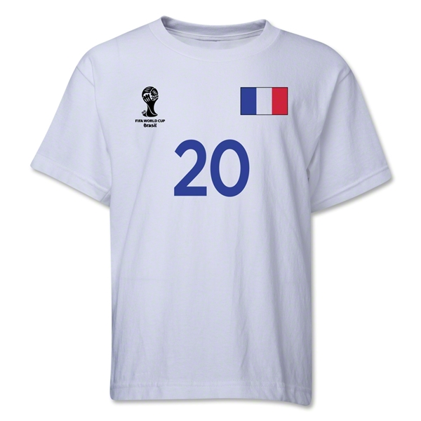 France 2014 FIFA World Cup Brazil(TM) Youth Number 20 T-Shirt (White)
