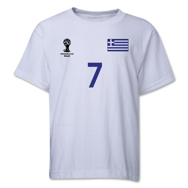 Greece 2014 FIFA World Cup Brazil(TM) Youth Number 7 T-Shirt (White)