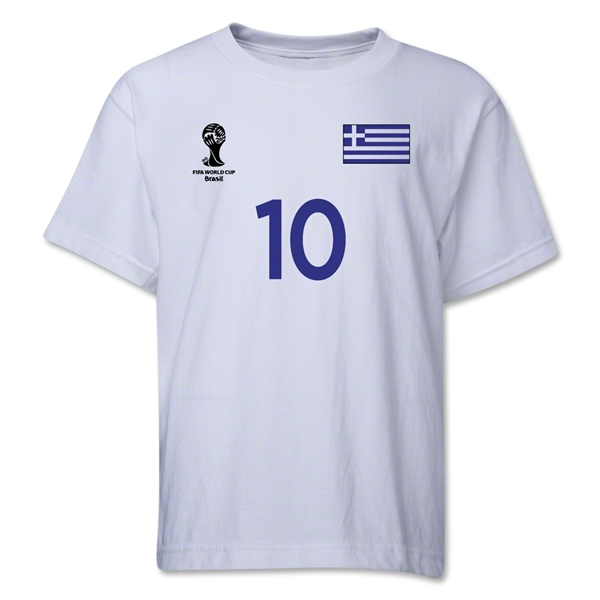 Greece 2014 FIFA World Cup Brazil(TM) Youth Number 10 T-Shirt (White)