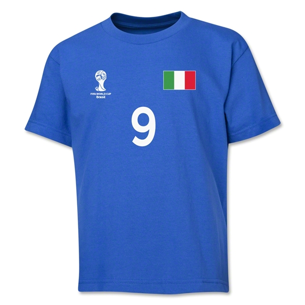 Italy 2014 FIFA World Cup Brazil(TM) Youth Number 9 T-Shirt (Royal)