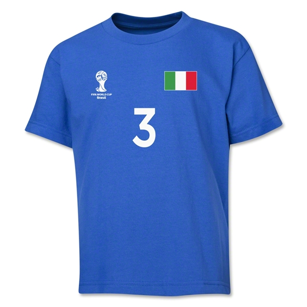Italy 2014 FIFA World Cup Brazil(TM) Youth Number 3 T-Shirt (Royal)