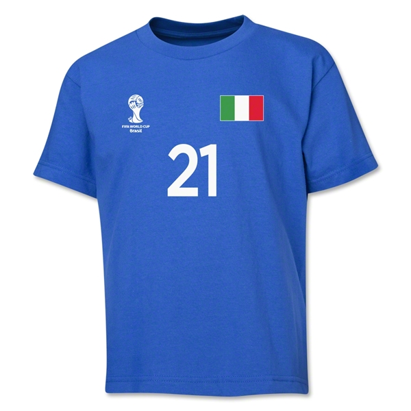 Italy 2014 FIFA World Cup Brazil(TM) Youth Number 21 T-Shirt (Royal)