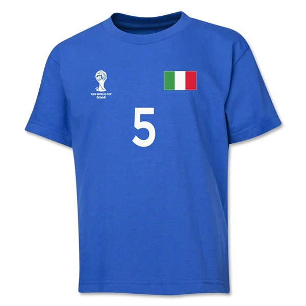 Italy 2014 FIFA World Cup Brazil(TM) Youth Number 5 T-Shirt (Royal)