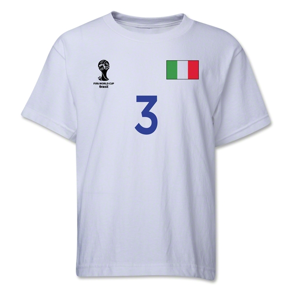 Italy 2014 FIFA World Cup Brazil(TM) Youth Number 3 T-Shirt (White)