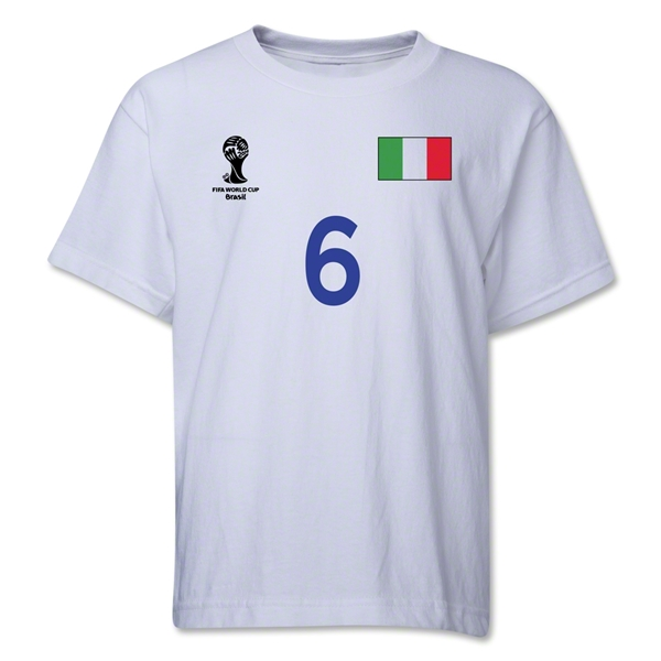 Italy 2014 FIFA World Cup Brazil(TM) Youth Number 6 T-Shirt (White)