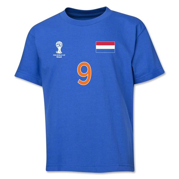 Netherlands 2014 FIFA World Cup Brazil(TM) Youth Number 9 T-Shirt (Royal)