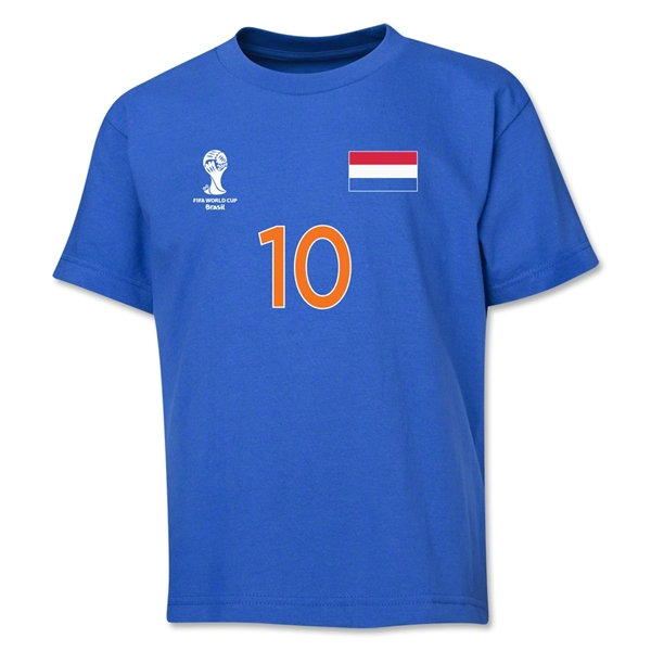 Netherlands 2014 FIFA World Cup Brazil(TM) Youth Number 10 T-Shirt (Royal)